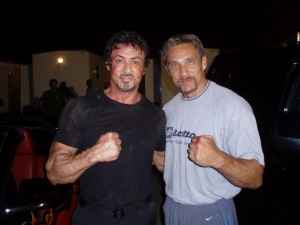 with Sylvester Stallone during 'Expendables' shoot.